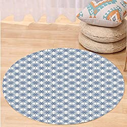 Kisscase Custom carpetGeometric Entwined Complex Circular Shapes Optical Abstract Modern Style Pattern for Bedroom Living Room Dorm Slate Blue Blue White