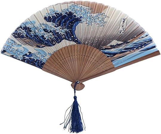 IMMIGOO /Éventail Japonais Pliant en Soie et Bambou avec Mot Chinois pour Dance Mural Deco