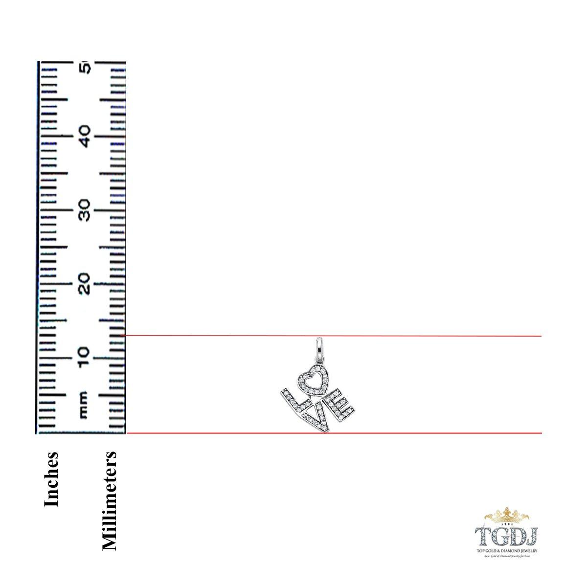 TGDJ 14k White Gold CZ Love Pendant Height 13 MM Width 10 MM