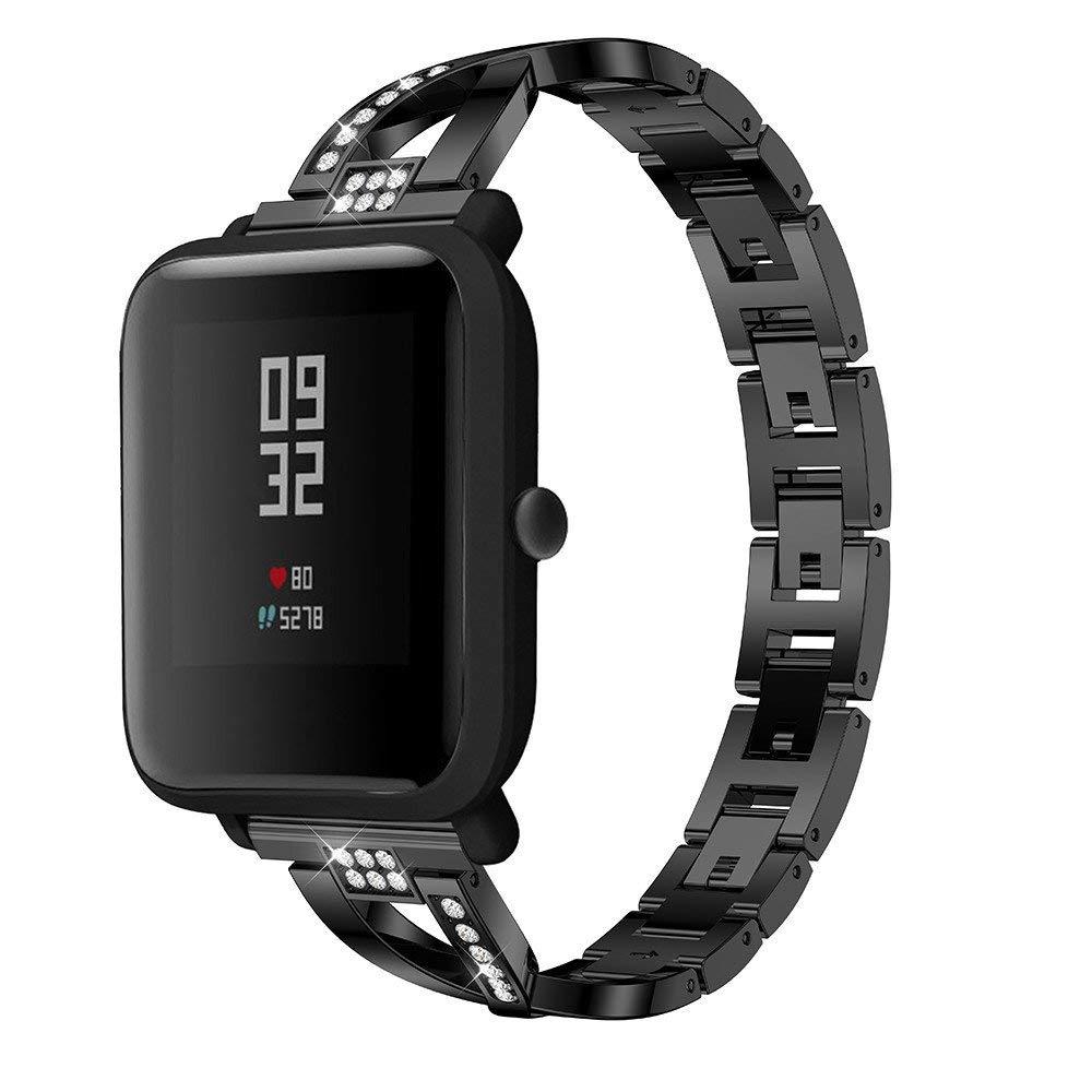Riou Correa para Reloj,❤️para Xiaomi Huami Amazfit Bip Reloj Juvenil Correa de Reloj de Metal cristalino Pulseras de Repuesto