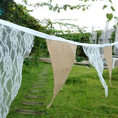 Burlap Chic Lace Jute Banner, DIY Decoration Vintage Triangle Bunting 12Pcs Flag Cloth For Wedding Birthday Party Baby Shower Valentien's Day Home Decor 3M/9.84Ft - Valentiens Ideas Day