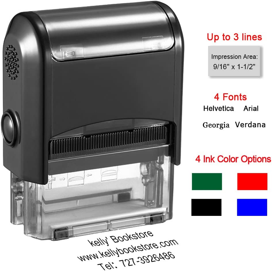 Custom Stamp-Personalized Stamp Self Inking Rubber Stamp,Return Address Stamp with up to 3 Lines of Custom Text