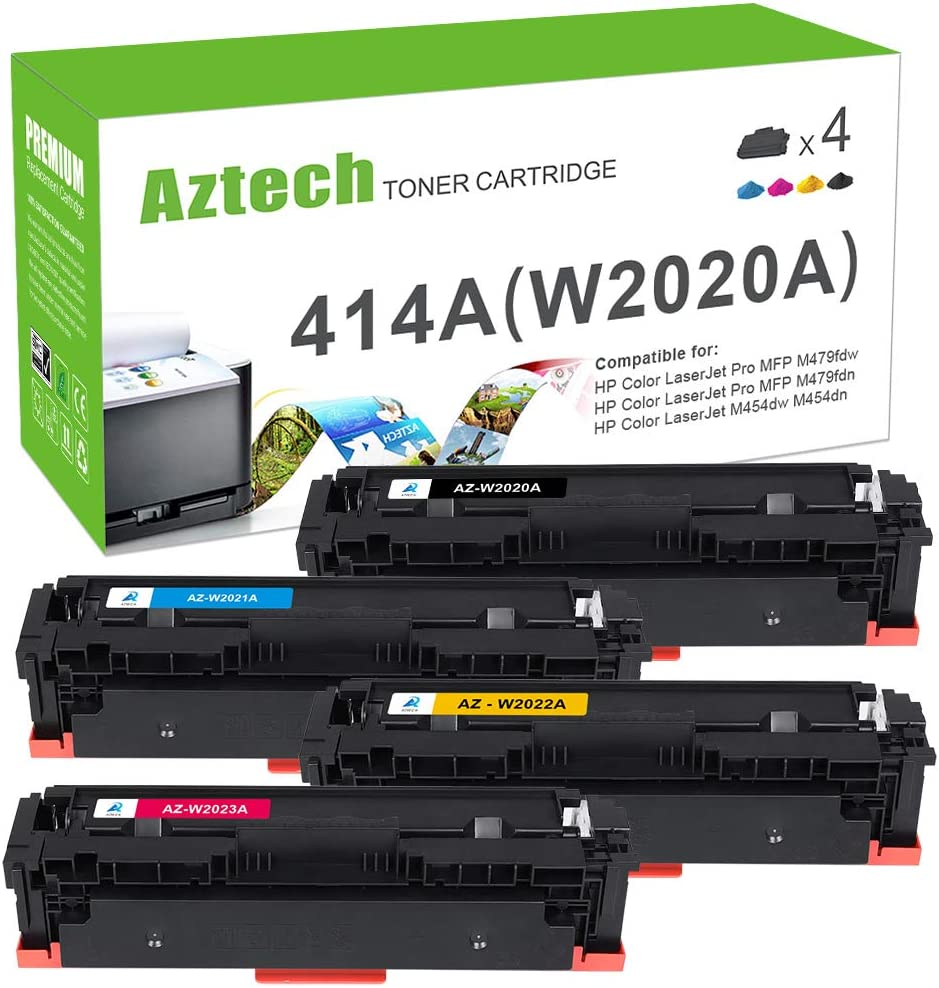 Aztech Compatible Toner Cartridge Replacement for HP 414A W2020A 414X Color Laserjet Pro MFP M479fdw M454dn M479fdn M454dw M479 M454 W2021A W2022A W2023A (Black Cyan Yellow Magenta, 4-Pack)