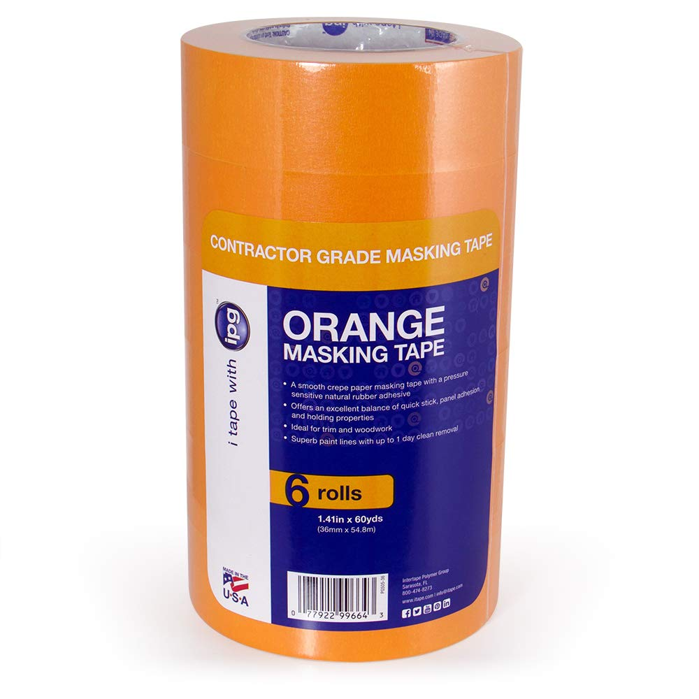 IPG Contractor Grade Orange Masking Tape, 1.41'' x 60 yd (6 Pack),