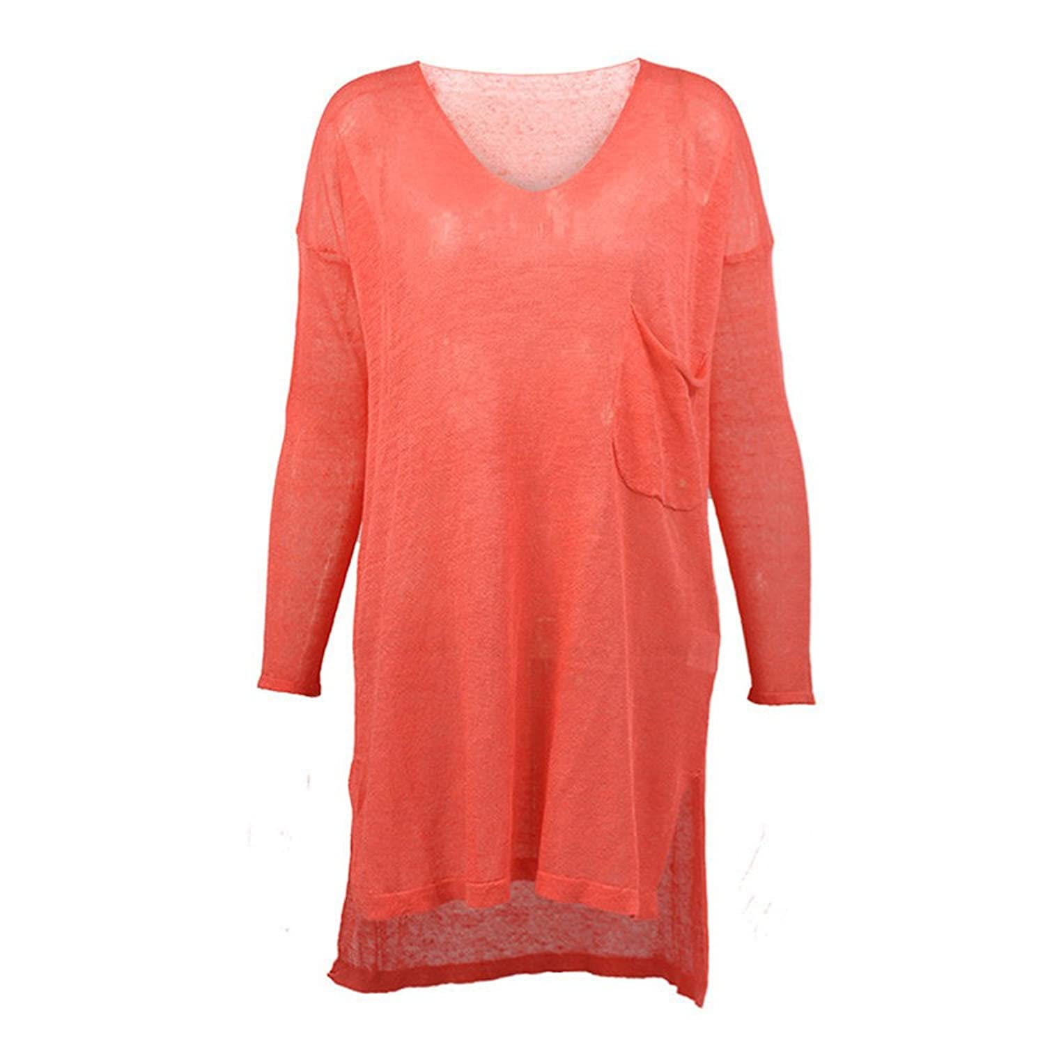 Haogo Women's Loose Long Sleeve Knitted Pullover Sweater with Pocket