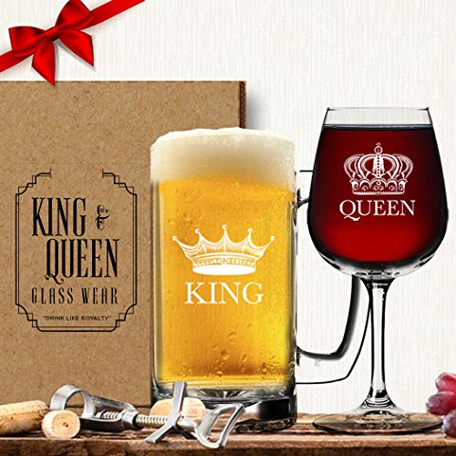 King Beer Queen Wine Glass (Set of 2) - Couples Valentines Day Gift - His Hers - Mr and Mrs - Housewarming Newlyweds - Husband Wife Wedding Anniversary Vino Drinkware - Royalty Novelty Funny Fancy Mug