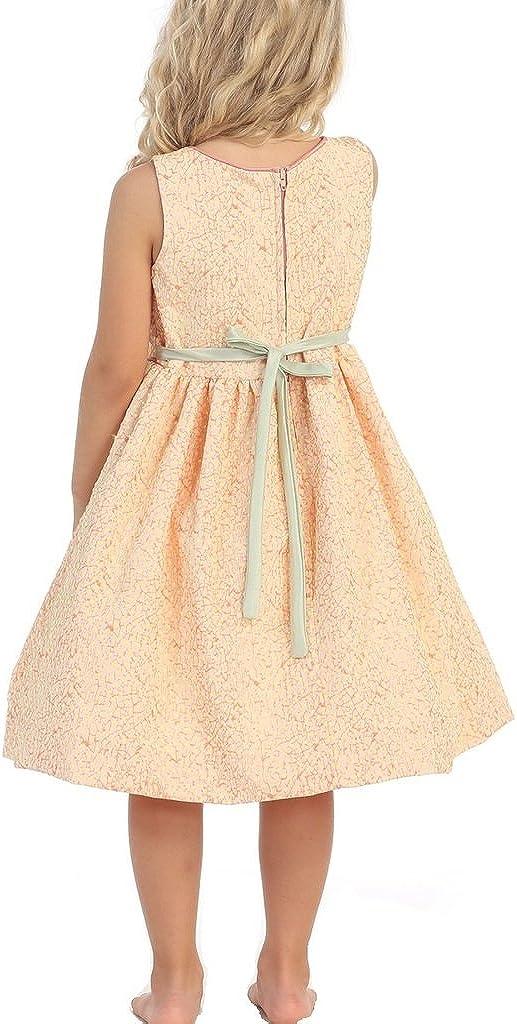 Little Girls Jacquard Drop Waist Pleated Easter Flower Girls Dresses