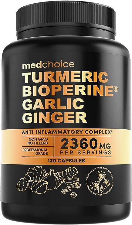 4-in-1 Turmeric Curcumin w Bioperine 2360mg (120 ct)   95% Curcuminoids, Ginger Root, Garlic Pills, Black Pepper   Anti Inflammatory Joint Pain Heart Health   Made in The USA