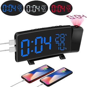 ,PICTEK Radiowecker//Wecker mit Projektion//Wecker//Gro/ßes Display//Dimmer//Dual-Alarm//4 Alarmt/öne//Snooze//Timer Projektionswecker Neuste Version 2019 12//24 USB-Anschluss 120/° Projektor,180/°Flip-Anzeige