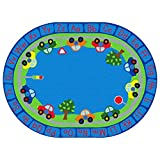 ECR4Kids All Around Cars Educational Alphabet Rug for Children, School Classroom Learning Carpet, Oval, 6 x 9-Feet