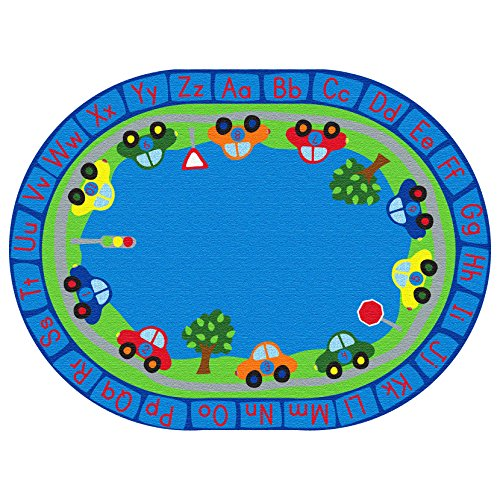 ECR4Kids All Around Cars Educational Alphabet Rug for Children, School Classroom Learning Carpet, Oval, 6 x 9-Feet ()