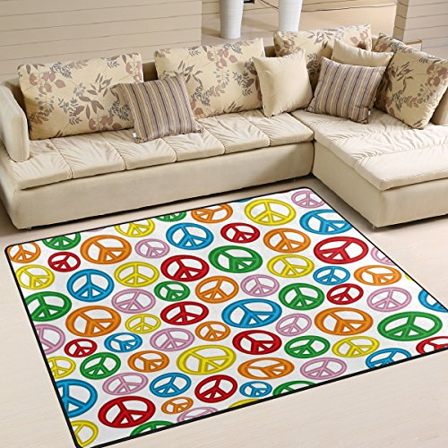 ALAZA Colorful Peace Sign Area Rug Rugs for Living Room Bedroom 5'3 x 4'