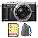 Olympus PEN E-PL9 Onyx Black Body, Silver 14-42mm F3.5-5.6 EZ Lens Kit (V205092BU010) with Sandisk 32GB Extreme SD Memory UHS-I Card & Deco Gear Large Photo/Video Backpac Grey