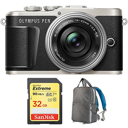Olympus PEN E-PL9 16.1 MP Wi-Fi 4K Mirrorless Camera Body with Sandisk 32GB Extreme SD Memory UHS-I Card & Deco Gear Large Photo/Video Grey Backpack (Camera and Lens Bundle, Black + Lens)