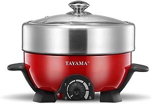 Tayama TRMC-40R Shabu & Grill Multi-Cooker 3 Quart, 3 Qt, Red