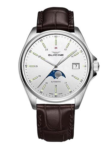 Glycine Combat Classic Moon Phase Fecha Fase lunar - Reloj de pulsera analógico automático 3948.111.lbk7 F: Amazon.es: Relojes