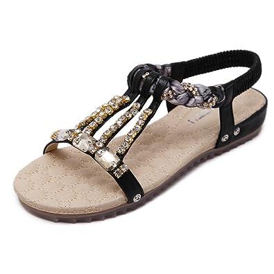 f1cb09bccc93 Womens Wedge Sandals Thong Platform Beaded Slingback Bohemia Summer Sandal ( Black 35 4.5 B