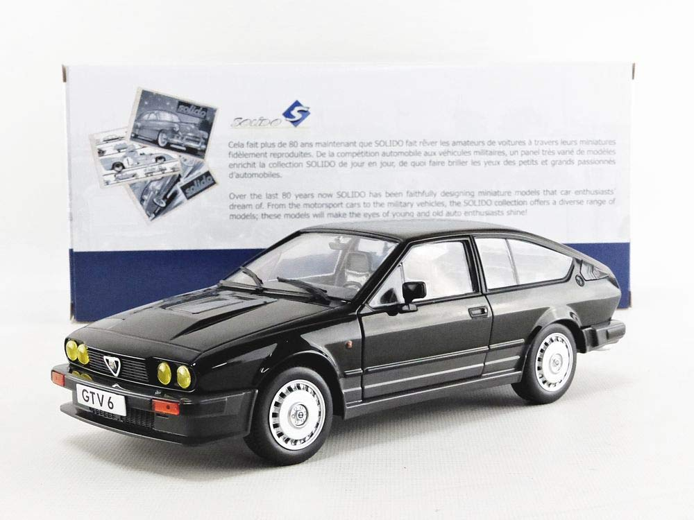 Auto in Miniatura per Alfa Romeo GTV6-BLACK METALLIC-1//18-S1802302 SOLIDO S1802302 Nero Colore