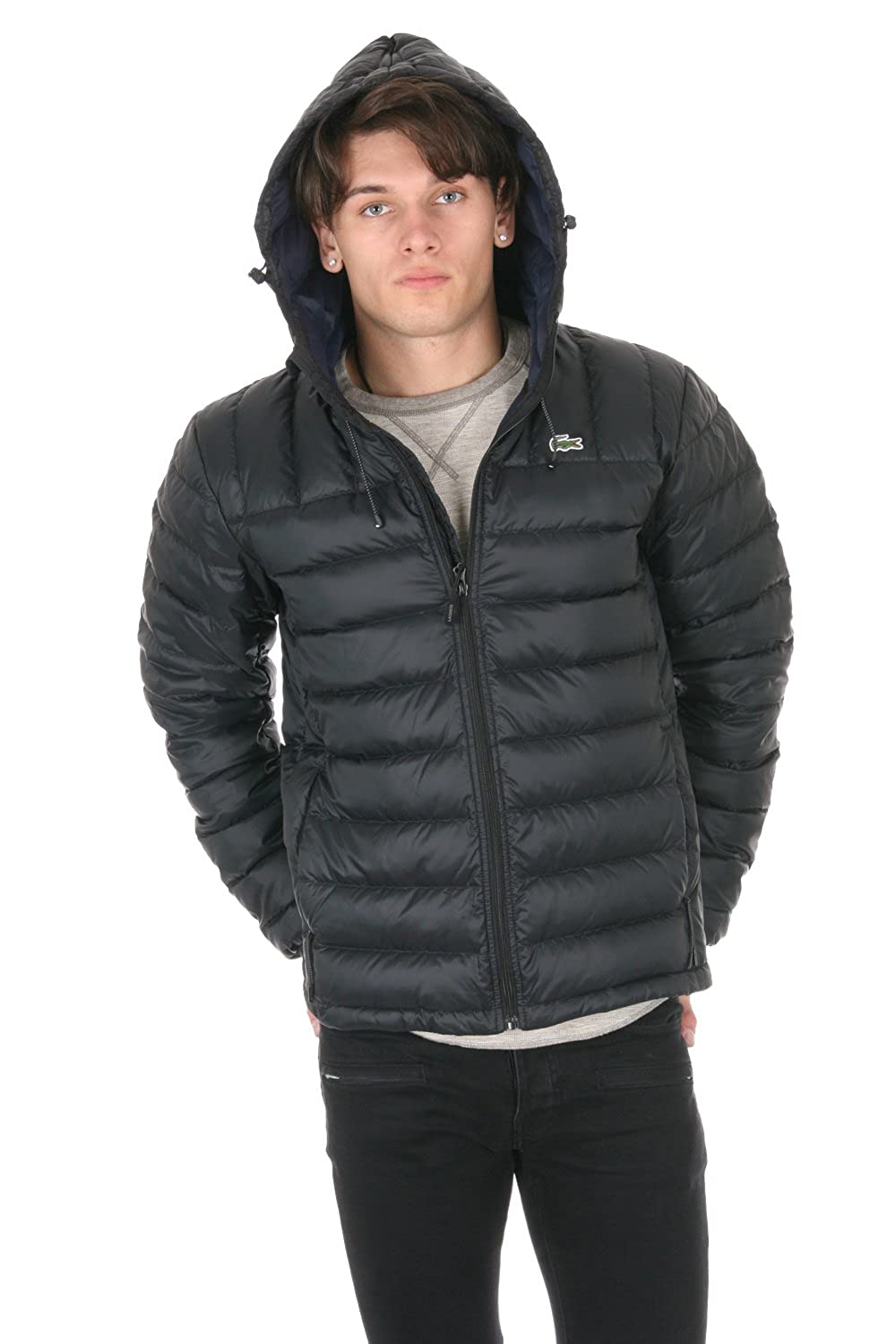 f4b9ae0f Lacoste Packable Down Jacket BH2533-51-DY4 Black/Navy Blue: Amazon ...