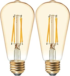 GE Lighting 42194 Clear Finish Light Bulb Dimmable LED Vintage Style ST19 5.5 (40-Watt Replacement), 400-Lumen Medium Base, 2-Pack, Warm Candle