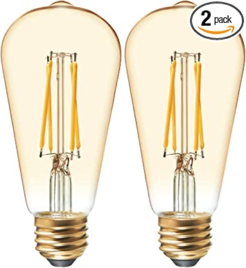 Ge Vintage Amber Glass Led Light Bulbs 40w Replacement Dimmable Edison Light Bulbs St19 2 Pack Warm Candle Medium Base Amazon Com