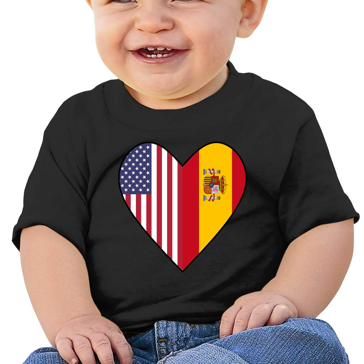 Half Spain Flag Half USA Flag Love Heart Newborn Baby Short Sleeve Crewneck T-Shirt 6-18 Month Tops
