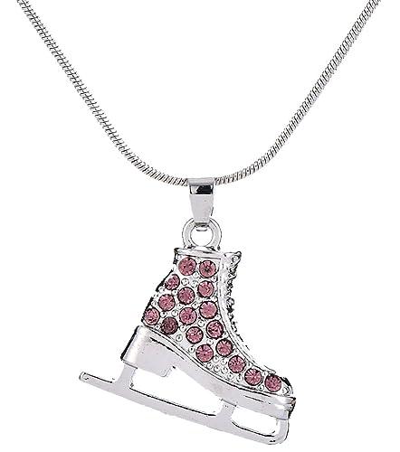Amazon 3d adorable crystal ice skate charm pendant necklace for 3d adorable crystal ice skate charm pendant necklace for girls women purple aloadofball Gallery