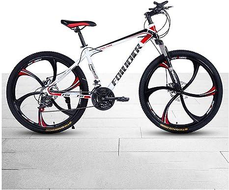 Bicicleta De La Montaña En Bicicleta, Frenos De Disco De Choque De Cambio Delantero Y Trasero Una Bicicleta De Carretera Blanca Jóvenes Rueda De 26 Pulgadas: Amazon.es: Deportes y aire libre