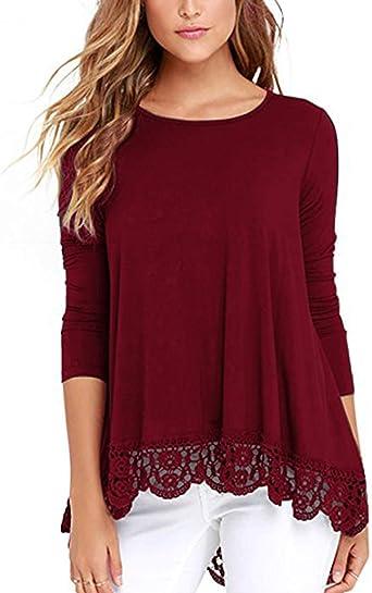 Style Dome Mujeres Encaje Blusa Camiseta Casual Damas Elegante Cuello Redondo Mangas Largas Oficina Vino Rojo XL: Amazon.es: Ropa y accesorios