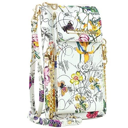 Purse Bag Phone Wallet Cellphone Wristlet Xl3020 Pouch Flower White Slots Clutch 12 Shoulder Crossbody wAB5Fq5WR