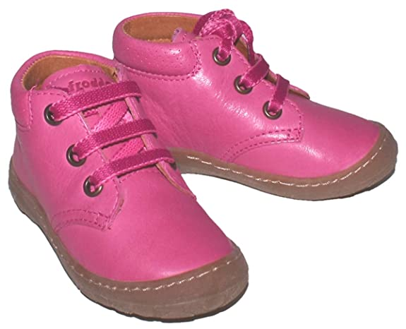 Froddo Lauflernschuh Schnürer in Pink aus glattem Leder mit