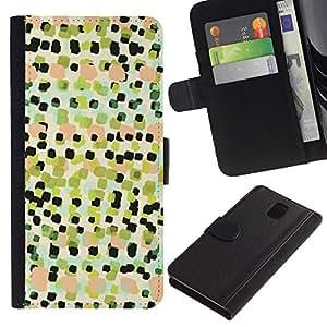 KingStore / Leather Etui en cuir / Samsung Galaxy Note 3 III / Arte Cuadrados Pintura Patrón;
