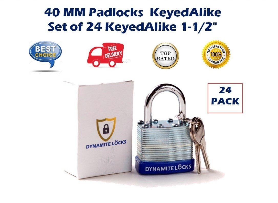 24 PC PIECE SET 40MM KEY ALIKE SHORT SHACKLE DYNAMITE PADLOCK KEYEDALIKE COMMERCIAL GRADE PAD LOCKS PADLOCK KEYED THE SAME A LIKE