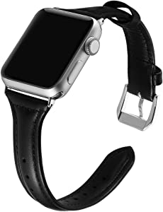 Simpeak Slim Genuine Leather Band Compatible with Apple Watch 44mm 42mm Series 6 SE 5 4 3 2 1, Women Men Wirstband Strap Replacement for iWatch 44 42, Black