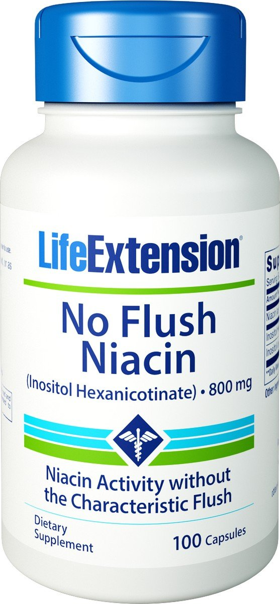 No Flush Niacin, 800 mg, 100 caps by Life Extension (Pack of 3)