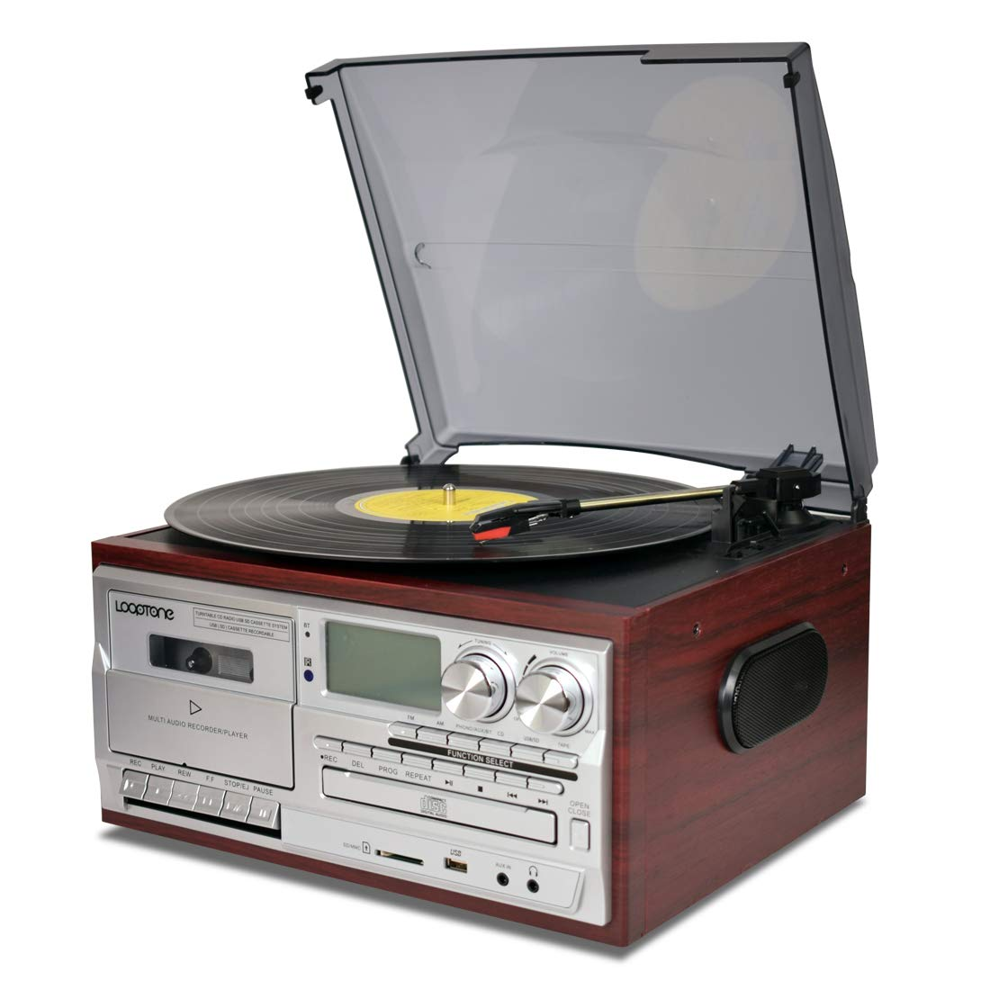 LoopTone Vinyl Record Player 9 in 1 3 Speed Bluetooth Vintage Turntable CD Cassette Player AM/FM Radio USB Recorder Aux-in RCA Line-Out by LoopTone