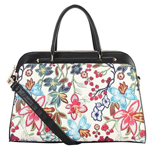 Women PU Leather Floral Print Shoulder Bag (Black) - 7