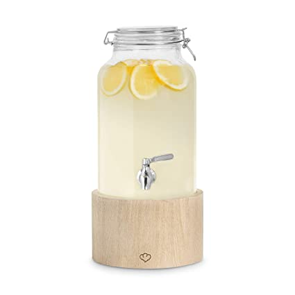 Dispensador de Bebidas Greta con Grifo de Acero Inoxidable, Mason Jar Vintage Design