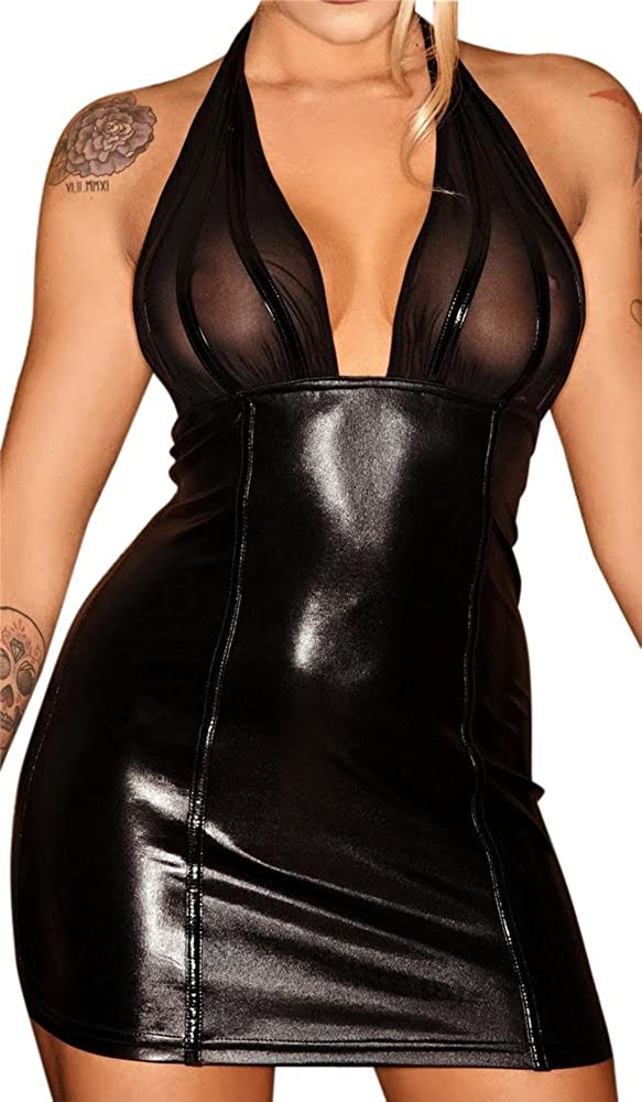 Noir Handmade Clubwear Neckholder Damen Mini-Kleid aus T/üll und Wetlook schwarz Partykleid