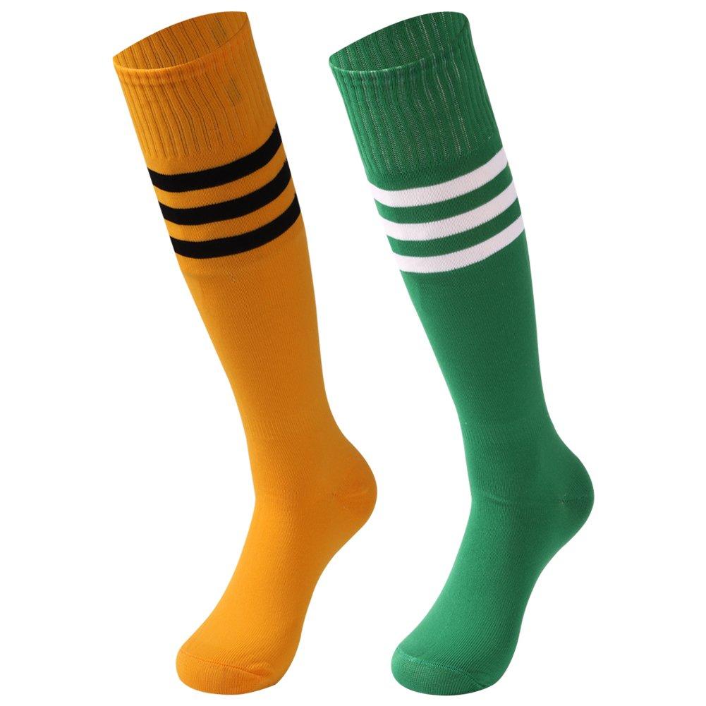 saounisi Woman Funky Knee Socks,2 Pairs Dress High Socks Colorful Stripe Football Soccer Sports Tube Long School Uniform Socks Size 9-13 Green/Deep Yellow by saounisi