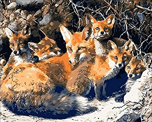 Paint by Number Kits for Adults Kids - Fox Family 16x20 inch Linen Canvas Without Wooden Frame