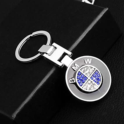 Double Sided Zinc Alloy Metal Keyring Logo Car Key Chain with Gift Box VILLSION 3D Car Keychain Accessories with Shining Crystal
