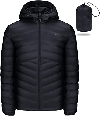 Domple Men Short Lightweight Warm Hooded Packable Down Jacket Coat Outerwear
