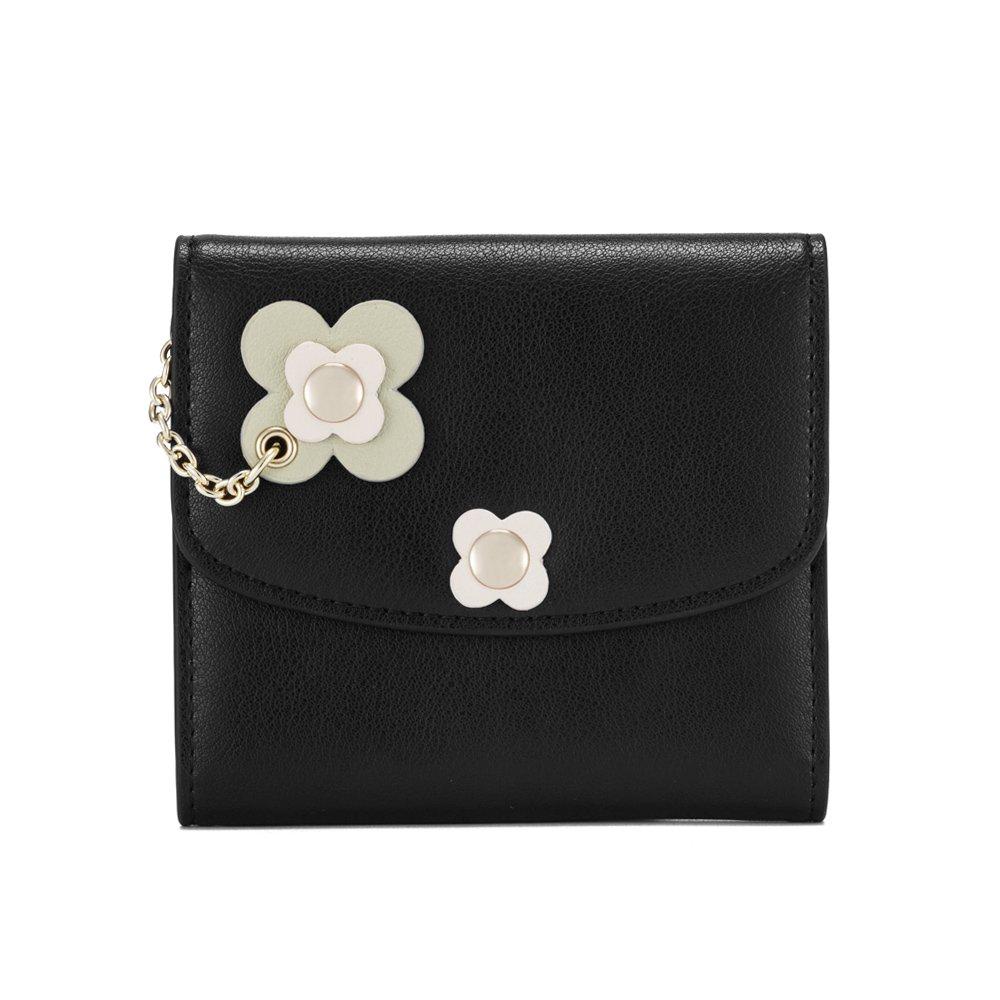 Black2 Leather Wallet for Women, Genuine Leather Purse Mini Money Organizer Credit Holder Clutch Ladies Travel Purse