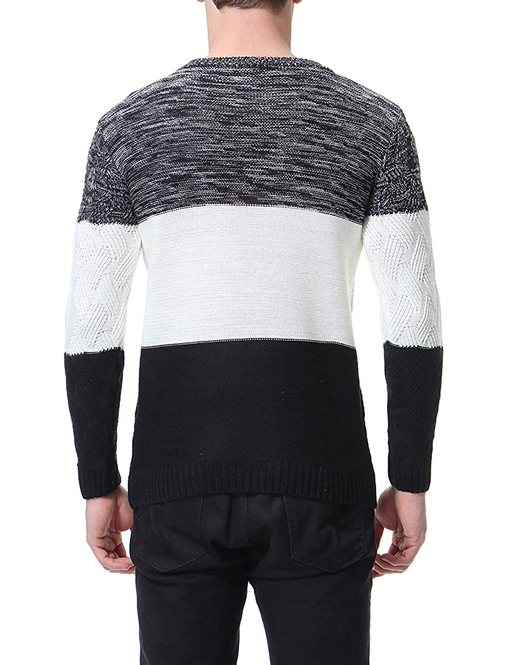 4d79ac1e7 Men's Original Cotton Blend Crew Neck Long Sleeve Jumper Classic Fine  Novelty Stylish Stripe Knitted Pullover: Amazon.co.uk: Clothing