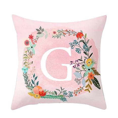 Sukisuki 26 letras impresión rosa manta cojín funda sofá ...