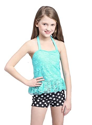 Girl Halter Lace Floral Top Polka Dot Shorts 2 Pieces Set Swimsuit Tankini