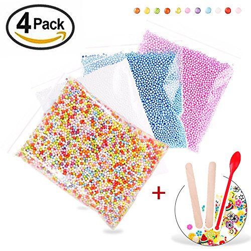 50000pcs Foam Beads for Slime 0.08-0.18 Inch Craft Foam Balls(4Pack) Ideal For Homemade Slime, Kid's Craft, Wedding and Party Decoration, Bonus Fruit Slice + Spoon + Stir Sticks (Rainbow Foam)