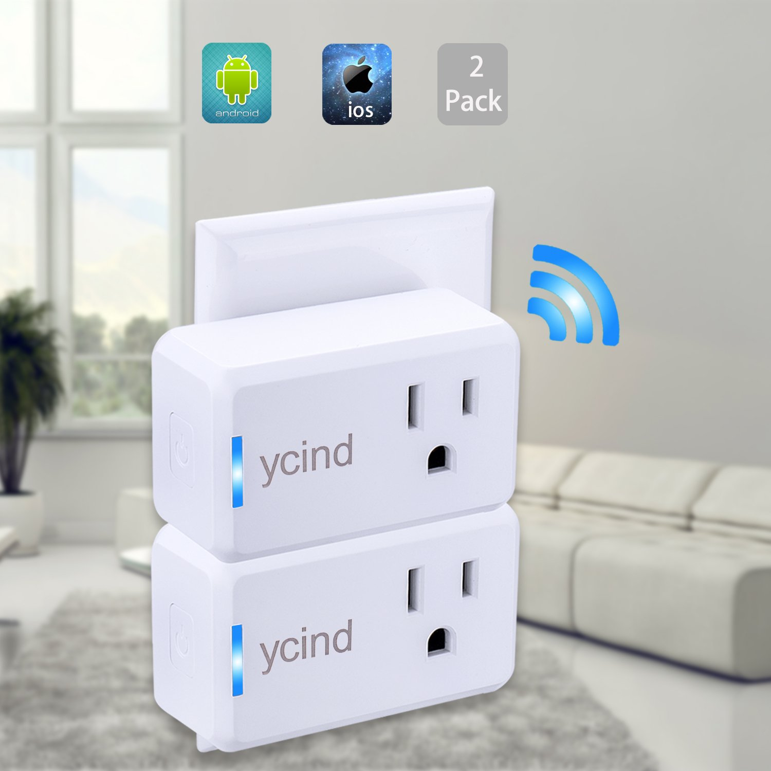 YCIND Smart WiFi Plug Wireless Smart Outlet With Timing Setting, Voice Controled by Alexa Google home, Remote Control Home Devices from Long Distance, 120V/1250W, White