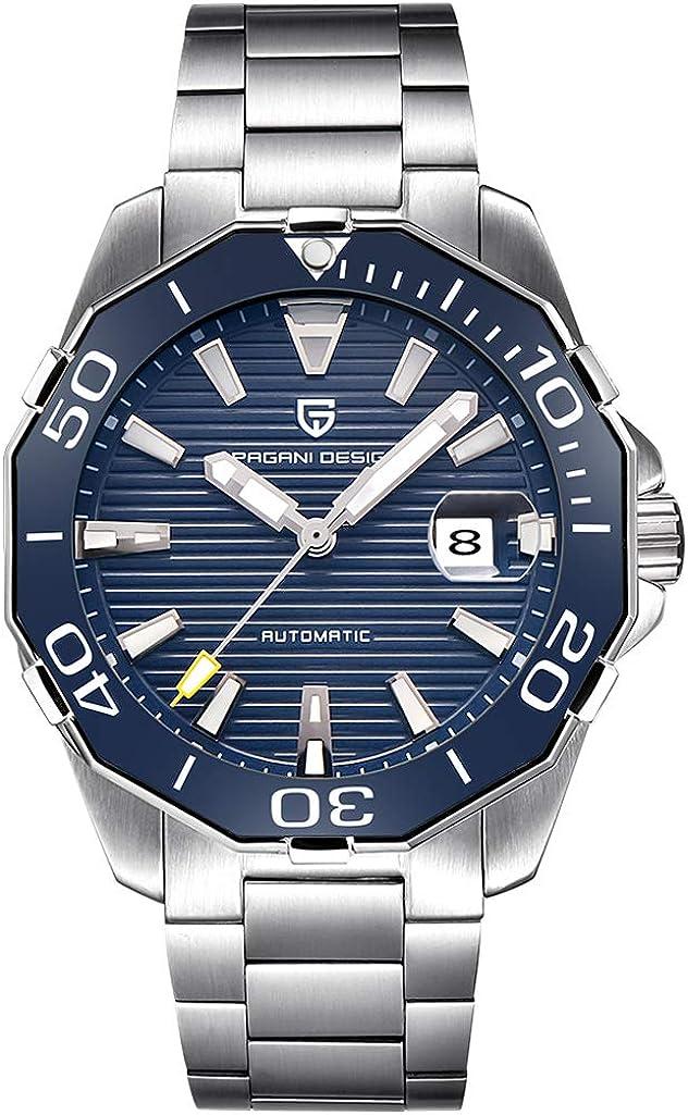 PAGANI DESIGN Relojes mecánicos para hombres con Top Seagull ST6 Movimiento automático y pulsera de acero inoxidable 316L, reloj deportivo impermeable